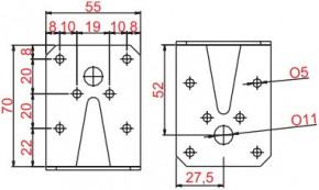 Úhelníky 55x70x70mm Nerez