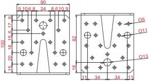 Úhelníky 90x105x105mm Nerez
