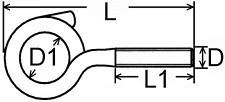 Houpačkové háky s metrickým závitem AHHM Ocel Zinek bílý