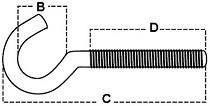 Háky s metrickým závitem Ocel Zinek bílý