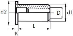 Nýtovací matice hladké, otevřené s plochou hlavou Nerez A2