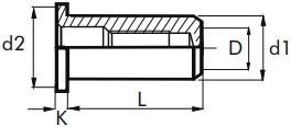 Nýtovací matice hladké, uzavřené s plochou hlavou Nerez A2