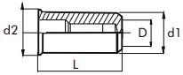 Nýtovací matice hladké, uzavřené s redukovanou hlavou Nerez A2