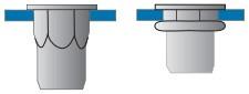 Částečně šestihranné nýtovací matice, otevřené s plochou hlavou Nerez A2