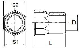 Částečně šestihranné nýtovací matice, otevřené s redukovanou hlavou Nerez A2