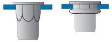 Částečně šestihranné nýtovací matice, uzavřené s plochou hlavou  Nerez A2