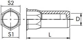 Částečně šestihranné nýtovací matice, uzavřené s redukovanou hlavou  Nerez A2