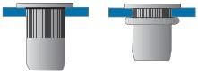 Nýtovací matice vroubkované, otevřené s plochou hlavou Nerez A2