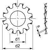 Podložky s vnějším ozubením Nerez A2 DIN 6797A