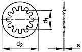 Podložky s vnitřním ozubením Nerez A2 DIN 6797J