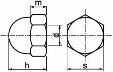 Kloboukové matice DIN 1587 Nerez A2