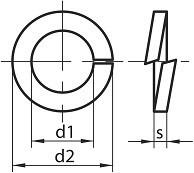 Pérové podložky s čtvercovým průřezem DIN 7980  Nerez A4