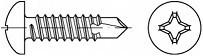 Vruty do kovu s předvrtáním PH DIN 7504N Nerez A2
