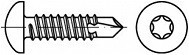 Vruty do kovu s předvrtáním Torx DIN 7504N Nerez A2