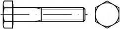 Šrouby se šestihrannou hlavou DIN 931 Ocel 5.8 Bez povrchové úpravy