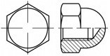 Kloboukové matice DIN 1587 Mosaz