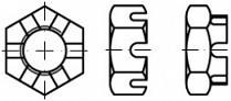 Nízké korunkové matice DIN 937 Ocel Zinek bílý