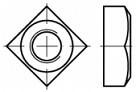 Čtyřhranné matice se sražením DIN 557 Ocel Zinek bílý