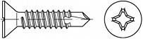 Zápustné vruty do kovu s předvrtáním PH DIN 7504P Ocel Zinek bílý