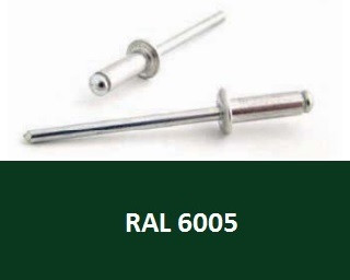 Barevné trhací nýty RAL 6005 Hliník/Ocel