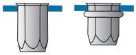 Šestihranné nýtovací matice, otevřené s redukovanou hlavou Ocel Zinek bílý