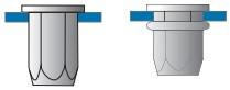 Částečně šestihranné nýtovací matice, otevřené s plochou hlavou Ocel Zinek bílý