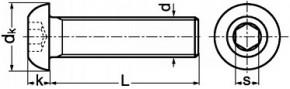 Imbusové šrouby s půlkulatou hlavou ISO 7380 Ocel 10.9 Bez povrchové úpravy