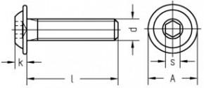 Límcové imbusové šrouby s půlkulatou hlavou ISO 7380 Ocel 10.9 Bez povrchové úpravy