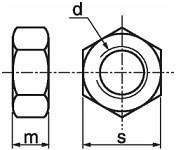 Pevnostní šestihranné matice s jemným závitem DIN 934 Ocel 10 Bez povrchové úpravy