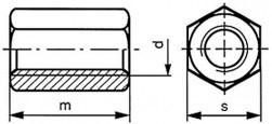 Prodlužovací matice DIN 6334 Ocel 5 Zinek bílý