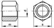 Prodloužené matice DIN 6330B Ocel 10 Bez povrchové úpravy