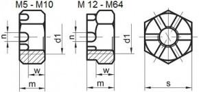 Korunkové matice s jemným závitem DIN 935 Ocel Bez povrchové úpravy