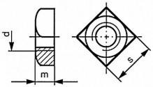 Čtyřhranné matice se sražením DIN 557 Ocel Bez povrchové úpravy