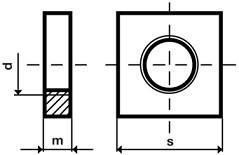Čtyřhranné matice DIN 562 Ocel 4 Zinek bílý