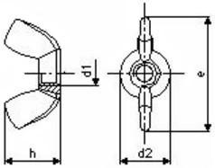 Křídlové matice DIN 315 Ocel 5 Zinek bílý