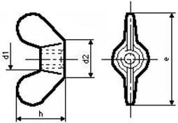 Křídlové matice GT DIN 315 Ocel 5 Zinek bílý
