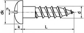 Univerzální vruty s půlkulatou hlavou s drážkou DIN 96 Mosaz