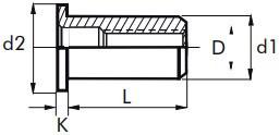 Nýtovací matice hladké, otevřené s plochou hlavou Hliník