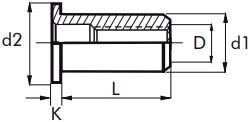 Nýtovací matice hladké, otevřené s plochou hlavou Ocel Zinek bílý