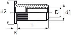 Nýtovací matice vroubkované, otevřené s plochou hlavou Ocel Zinek bílý