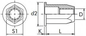Šestihranné nýtovací matice, otevřené s plochou hlavou Ocel Zinek bílý