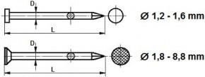 Stavební hřebíky Ocel Bez povrchové úpravy