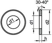 Ploché podložky se zkosenou hranou DIN 125B Ocel Zinek bílý