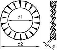 Vějířové podložky Ocel Bez povrchové úpravy DIN 6798A