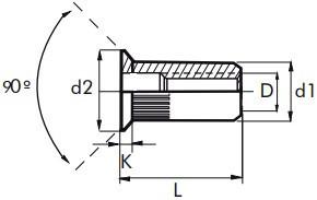 Nýtovací matice vroubkované, otevřené se zápustnou hlavou Ocel Zinek bílý