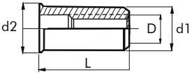 Nýtovací matice hladké, otevřené s redukovanou hlavou Hliník