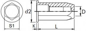 Nýtovací matice šestihranné, uzavřené s plochou hlavou Ocel Zinek bílý