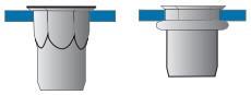 Částečně šestihranné nýtovací matice, otevřené s redukovanou hlavou Ocel Zinek bílý