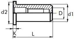 Nýtovací matice hladké, uzavřené s plochou hlavou Ocel Zinek bílý