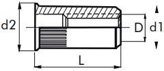 Nýtovací matice vroubkované, otevřené s redukovanou hlavou Ocel Zinek bílý